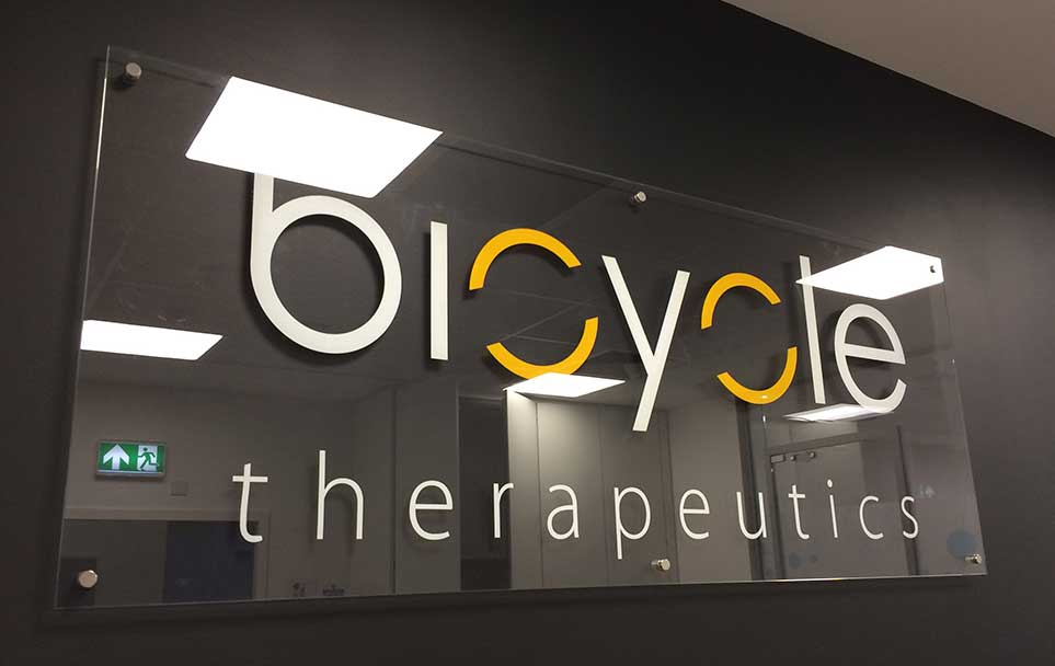 Bicycle Therapeutics – Glass Reception Sign